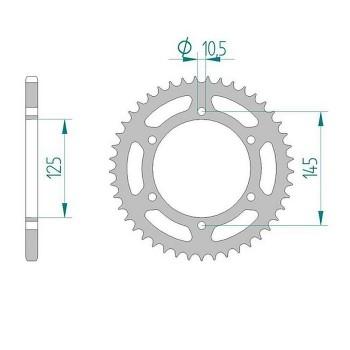 Звезда квадроцикла задняя /ведомая 43 зуба для Yamaha YFM700 /Raptor 700, YFM350 Raptor 350, YFM250, YFZ450, YFZ350 Banshee 350 5TG-25438-10-00, JTR1857.43, 12407-43