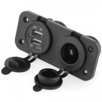 Прикуриватель с USB портами 12V влагозащищенный квадроцикла/снегохода/мото TSK 12V2+1 /YC-A08C