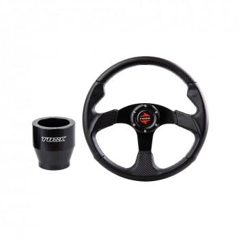 Руль спортивный карбоновый с установочным кронштейном Polaris RZR /RANGER Arctic Cat PROWLER /WILDCAT Tusk Steering Wheel and Hub Kit Black Carbon 1910610001