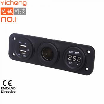 Влагозащитная встраиваемая панель с прикуривателем, USB и вольтметром TSK YC-A09 /80127-2606
