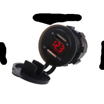 Вольтметр и 2 USB зарядки влагозащитные для мототехники TSK YC-A16