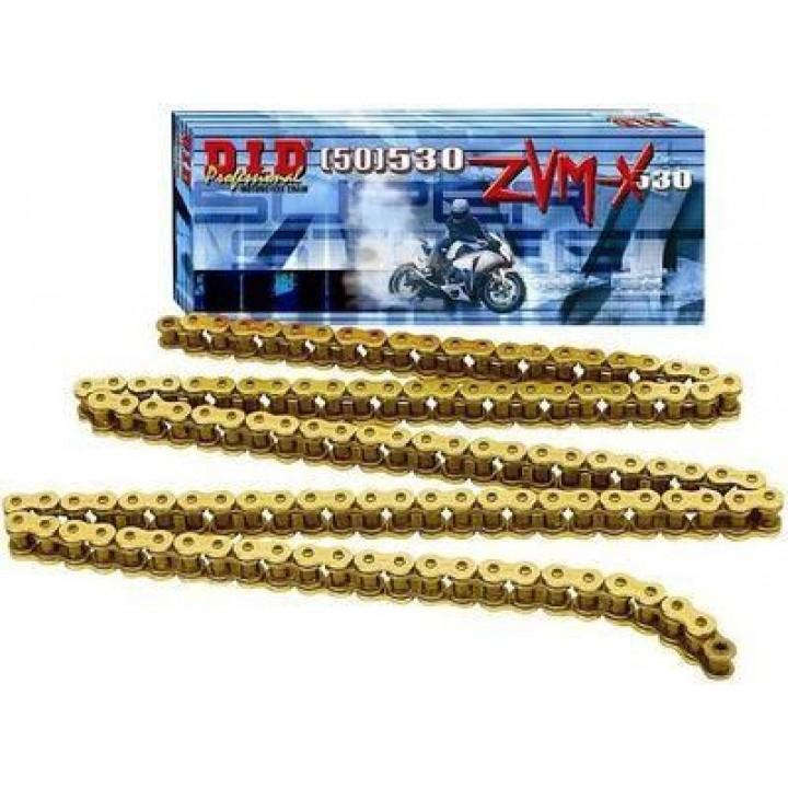 Цепь c замком-заклепкой усиленная золотая DID ZVM-X 530 110 звеньев
