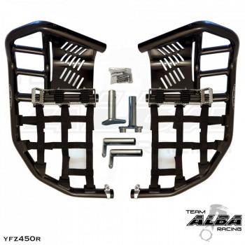 Подножки с пятками для Yamaha YFZ450 R/X инжектор ALBA RACING 251-T7-BLACK/BLACK