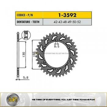 Звезда задняя стальная 52 зубов Yamaha YZ450 /YZ250 /YZ125 /WR450 /WR250 1-3592-52 /JTR251-52